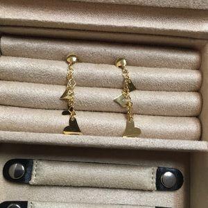14k Italy 585 M Heart Dangle Earrings